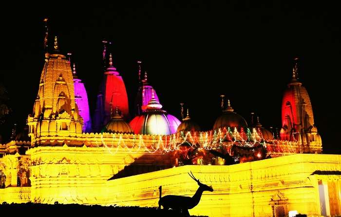 The view of Vrindavan Temple at night in Silvassa