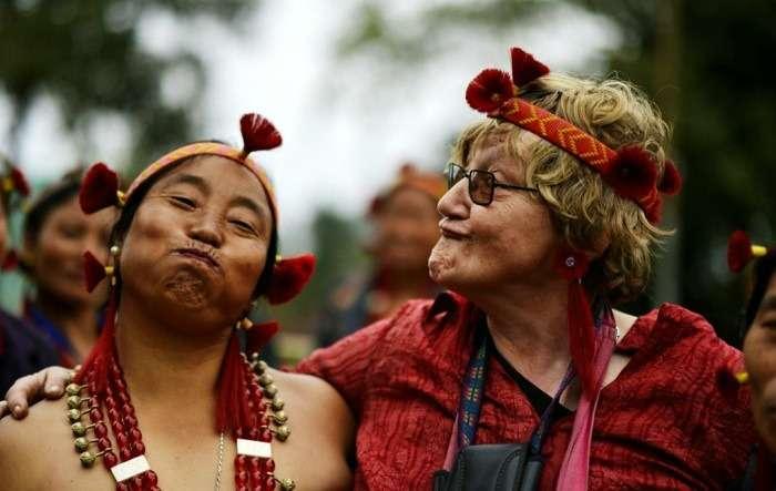 people enjoying at hornbill festival in nagaland