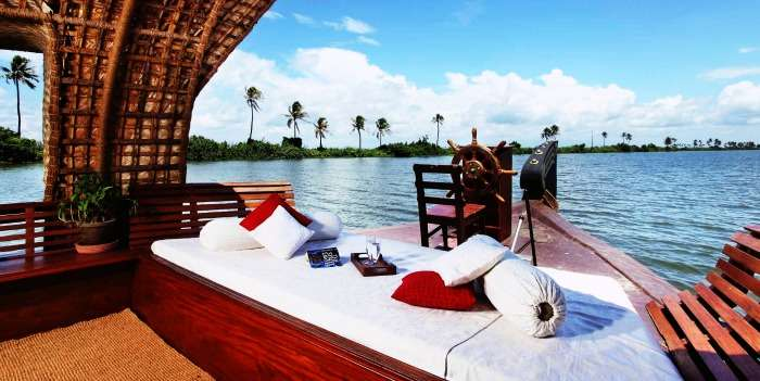View of the backwaters from a houseboat in Alleppey
