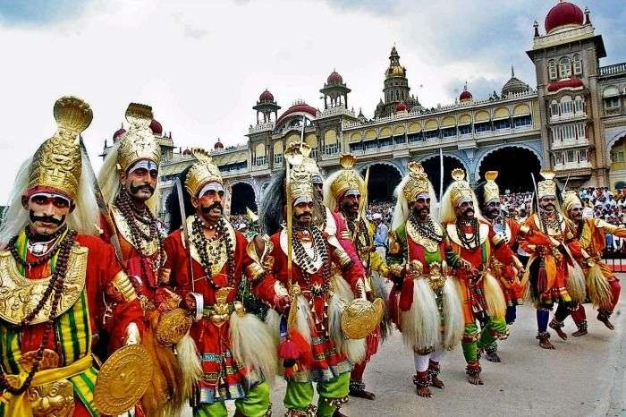 Performers in the Jamboo Savari in Mysore