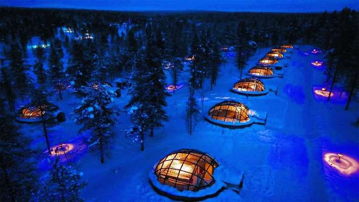Experience Nature at its best at Northern Light Sky  from Glass Igloos in Finland !