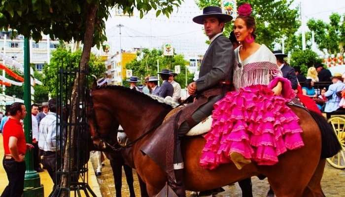 A Honeymoon couple in Seville at the Feria de Abril