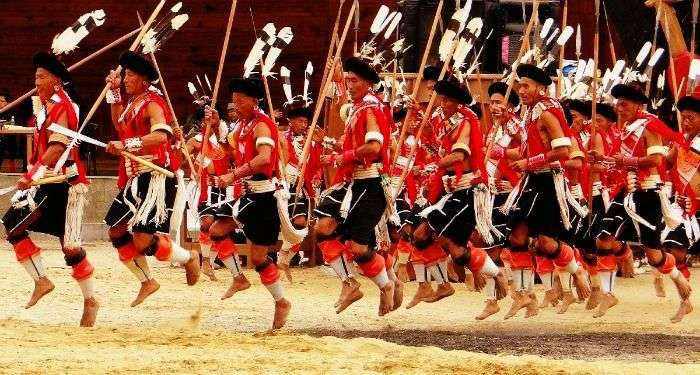 Naga tribal men during the Hornbill Festival