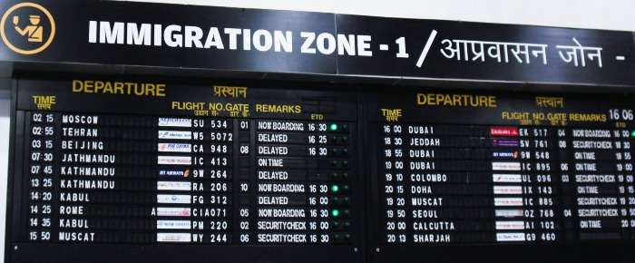 Immigration board displaying how well connected Delhi International Airport is