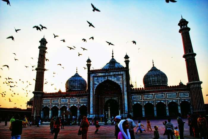 The largest masjid in Asia, Jama Masjid, created during the Mughal reign