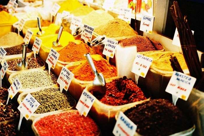 Spices being sold in Khari Baoli in Old Delhi