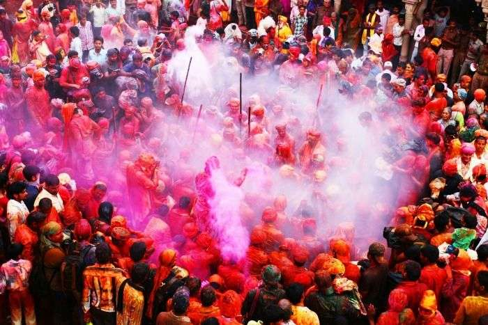 A colourful display during Lathmar Holi in Barsana