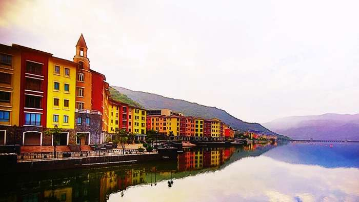 A view of Lavasa's colorful architecture from the bridge