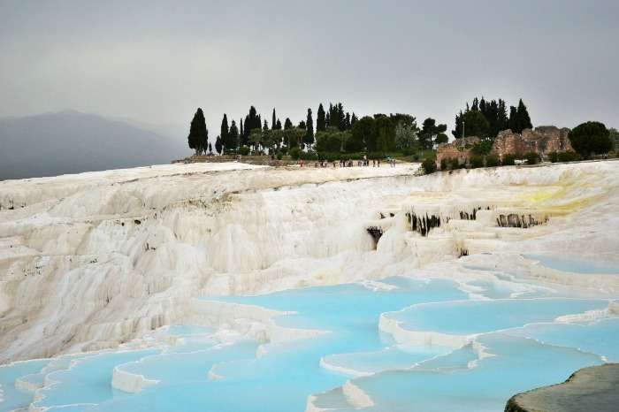 A view of the gorgeous Pamukkale Thermal Pools in Turkey