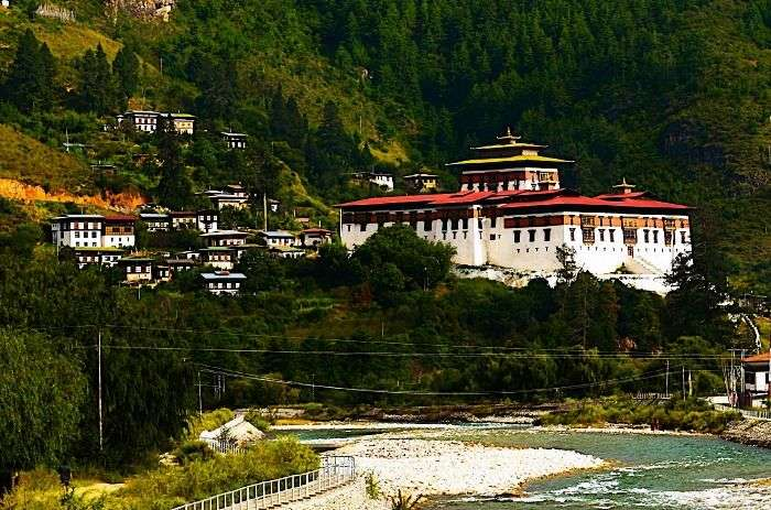 The beautiful and colourful valley of Paro Dzong in Bhutan