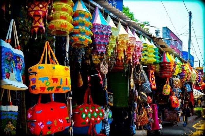 Appliqué work being sold in Pipli village in Odisha