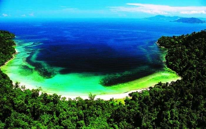 The blue green clean water Sabah Coast in Malaysia