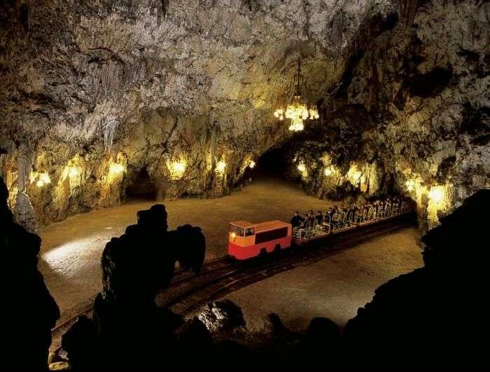 Explore the underground caves in Slovenia
