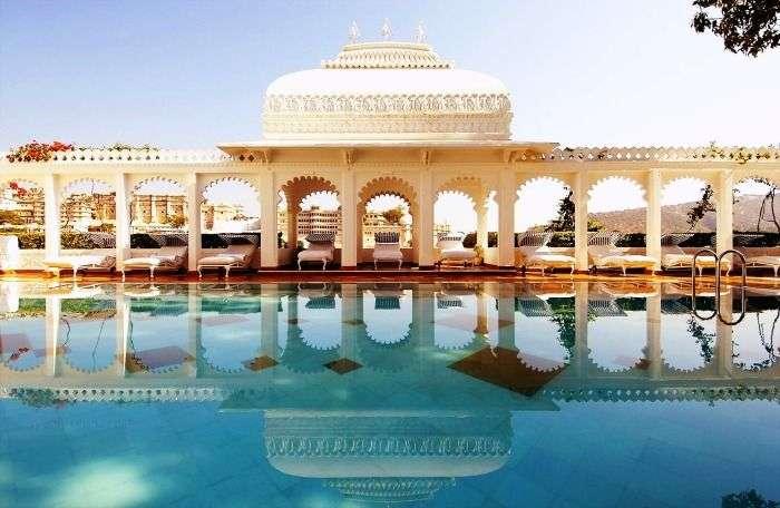 The Swimming Pool at Taj Lake Palace in Udaipur