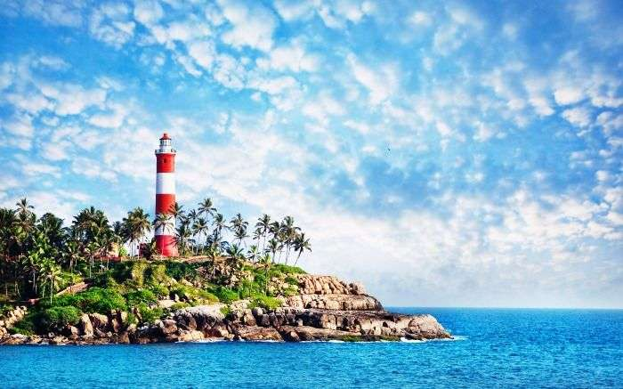 The view of the Lighthouse Beach in Kovalam