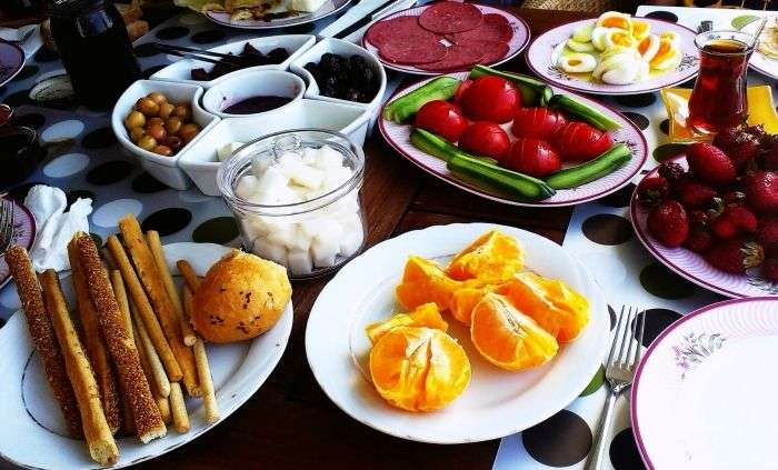 Turkish Breakfast spread in Istanbul
