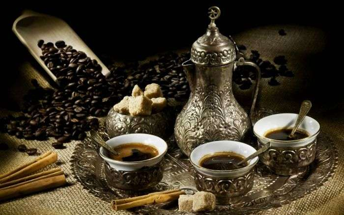 Turkish coffee served with Turkish delight