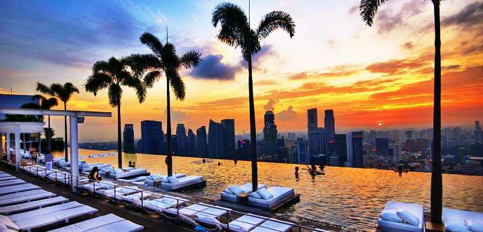 Dive in the infinity pool at Marina Bay Sands overlooking the city
