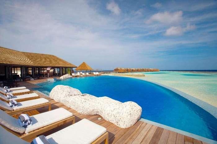 Infinity pool at Lily Beach Resort, Maldives