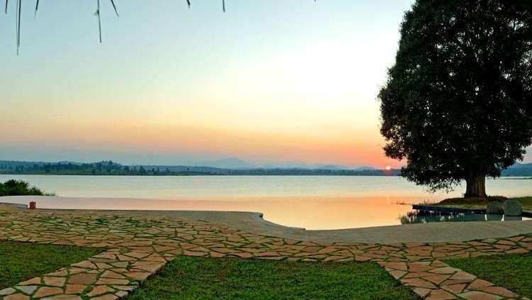 Infinity pool at Orange County Resort in Kabini