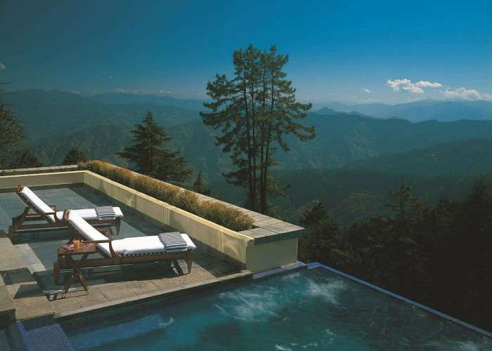 Infinity pool at Wildflower Hall in Shimla