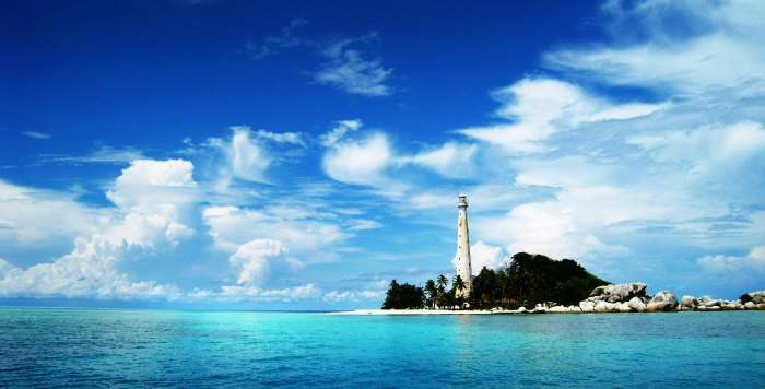 A lighthouse in Lengkuas Island in Belitung