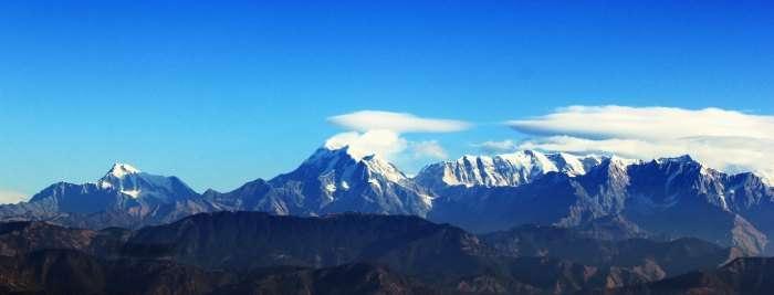 View of the Nanda Devi range from Kausani in Uttarakhand