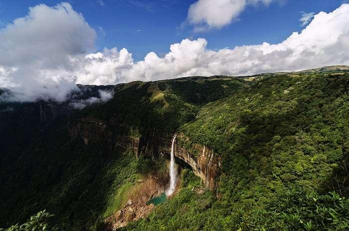 Nohkalikai Falls in Cherrapunji