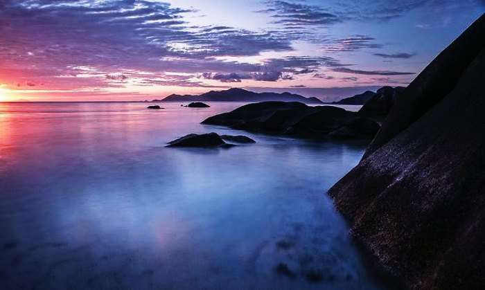 Magnificent views of sunset in Seychelles