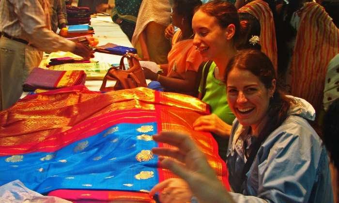 Tourist shopping for Kanjeevaram sarees