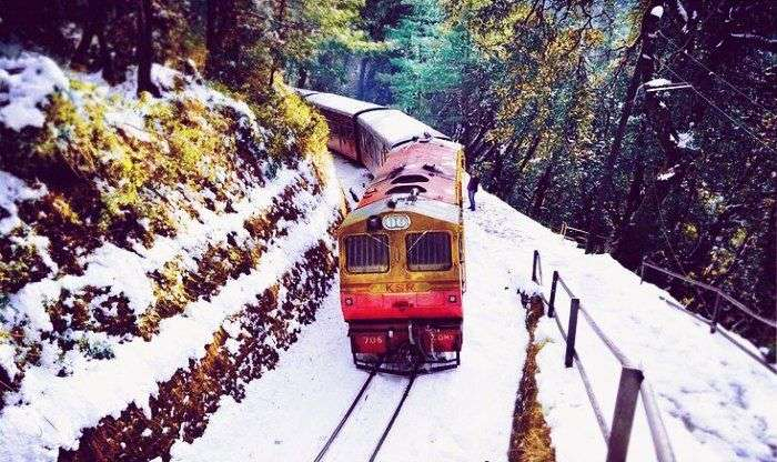 Colorful toy train making its way through the verdant valleys in Shimla