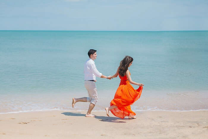 romantic walk on Sanur Beach