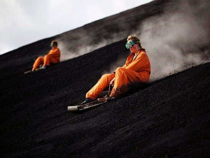 Ash board over an active volcano at Cerro negro mountain, Nicaragua!