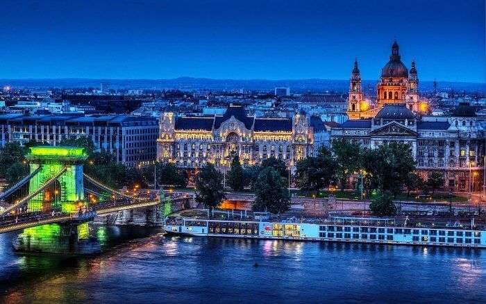 Night views of Budapest in Hungary