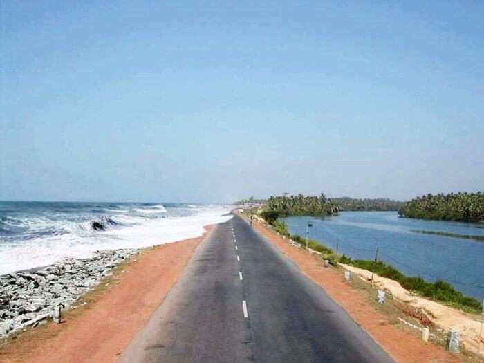 Maravanthe beach on left and Suparnika river on right on the Mangalore-Goa cycling route