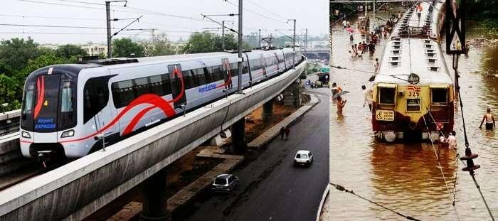 Delhi metro in rains vs Mumbai locals in rain