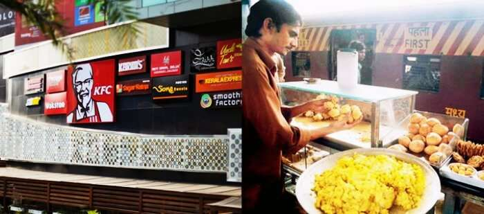 Epicuria on Nehru Place metro station vs food stall on Mumbai locals' station