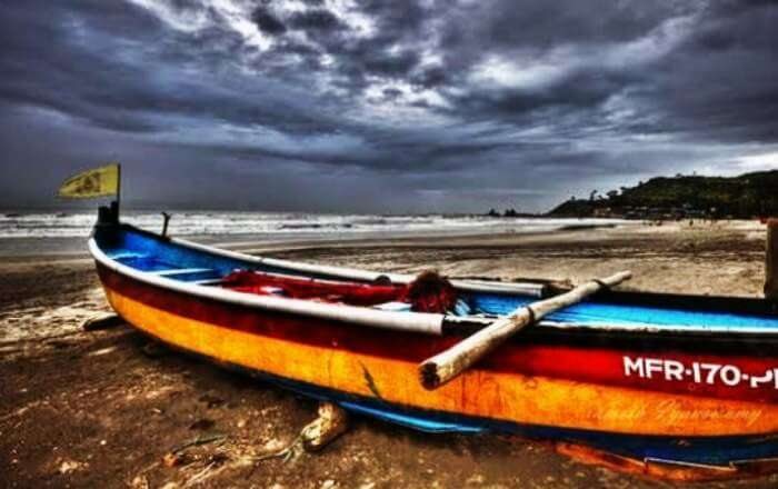 Baga beach during monsoons in Goa