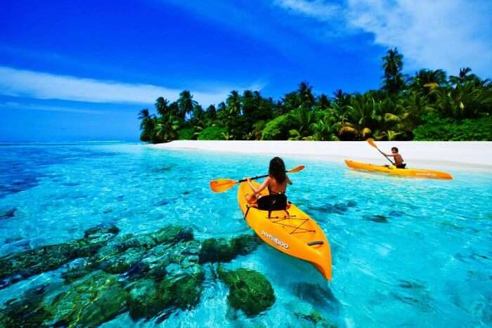 Kayaking is amongst the fun water activities in Maldives