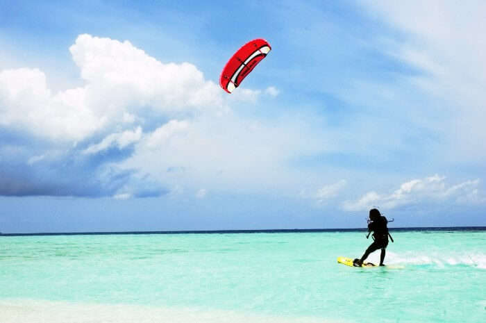 Another amazing water sport in Maldives is Kite Surfing