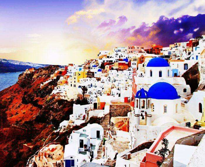 Sunsets on the shore of Santorini in Greece