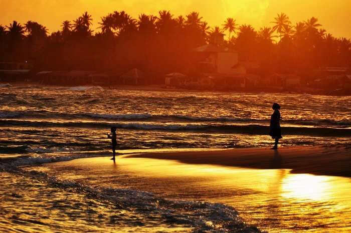 Sunset at Mount Lavinia beach in Sri Lanka