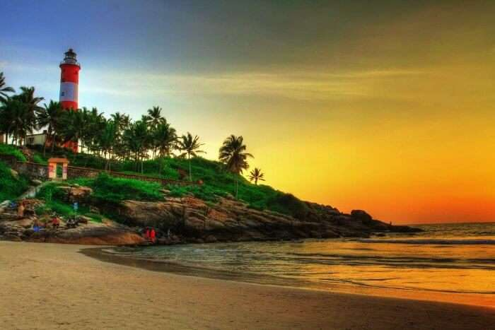 Kovalam beach has to be on your list of places to visit in Kerala during monsoons for its gorgeous sunset.