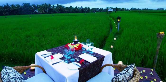 Romantic meal in the midst of paddy fields- The Chedi Club Tanah Gajah, Ubud, Bali