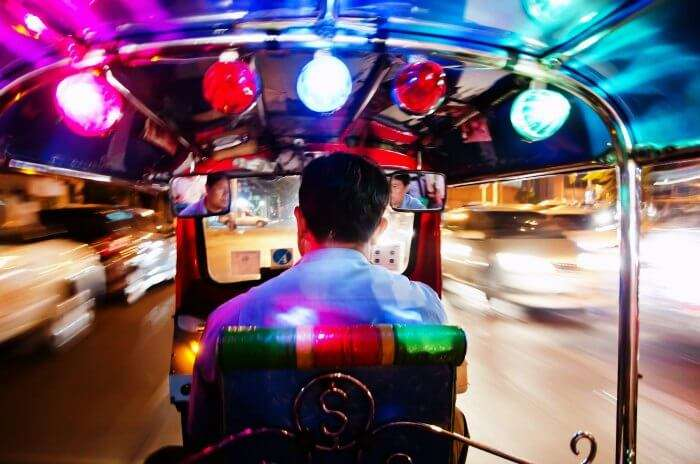 A night tuk tuk tour in Bangkok is a fun activity to witness the vibrant nightlife of Bangkok