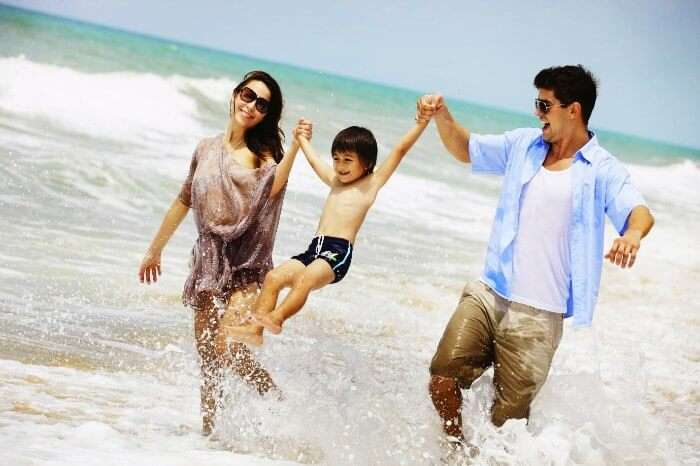 family having fun in the beach in Turkey