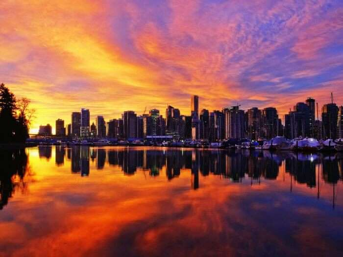 Vancouver's skyline during sunset