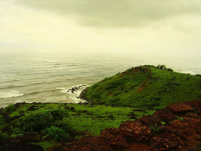 View of the , best beach in Goa during monsoon, Vagator from the Chapora fort