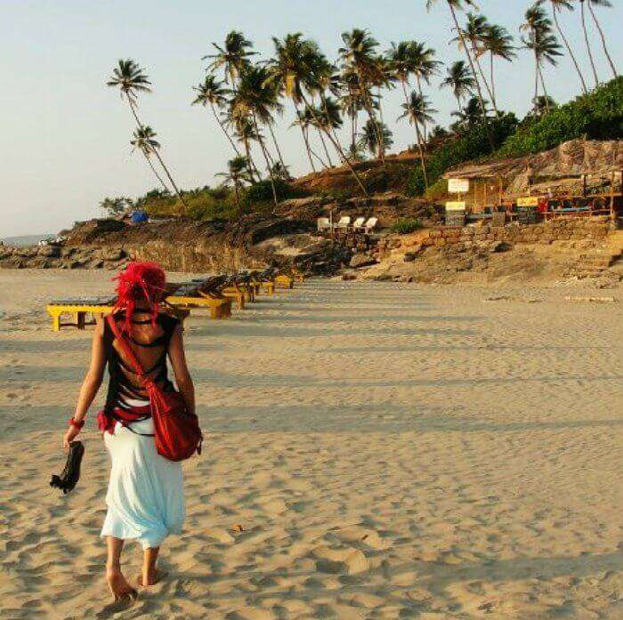 A hippie chilling on the beaches of Goa in Arambol