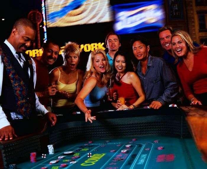 People enjoying the casino party in Las Vegas